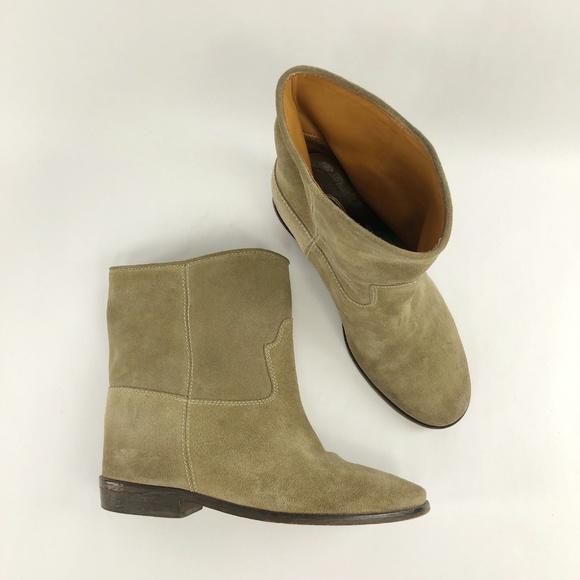 0787cd581a1 Scoop NYC Shoes   Scoopnyc Crisi Beige Suede Hidden Wedge Booties 39 ...